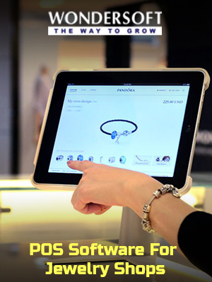 A representative at a jewelry shop using the POS software for their business.