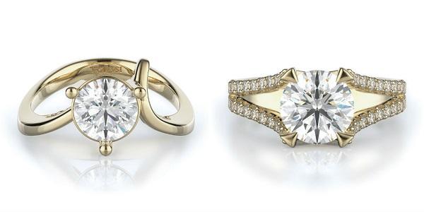 Closeup Diamond Ring Jewelry On White Background.