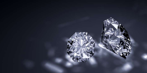 Colored Diamonds Displayed in Black Background.
