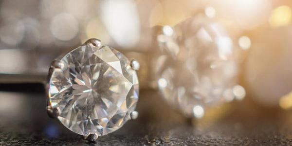 Close up view of White Diamond Ring.