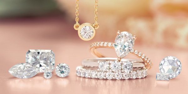 Luxury Diamond and Diamond Rings on display.