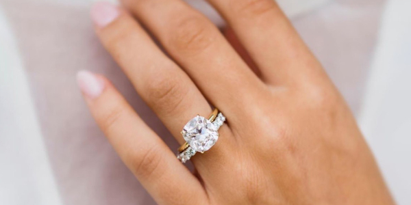 Close up of Elegant Diamond Ring On A Woman's Hand.