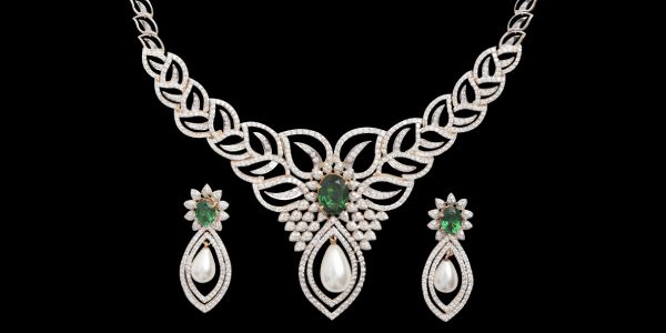 An Elegant Diamond Necklace Shot Against Black Background With Diamond Earings.
