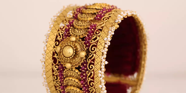 Traditional Gold Bangle Isolated On White Background.